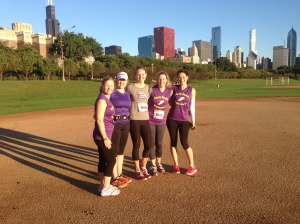 Emily, Jessica, Jessica, Jeanette, and I get ready for the big run.